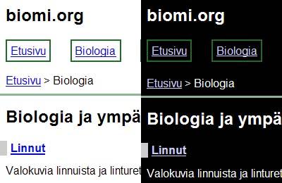 Biomi.org zoom-tyyleillä, ilman käyttäjän tekemiä värisäätöjä (Firefox) sekä käännetyllä väreillä (IE)